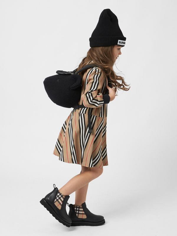 Logo Detail Rib Knit Merino Wool Beanie in Black - Children | Burberry - cell image 3