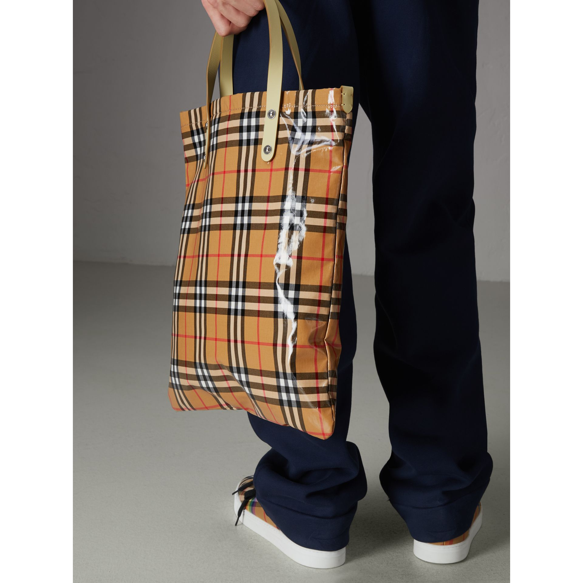 Medium Coated Vintage Check Shopper in Pale Yellow | Burberry - gallery image 5