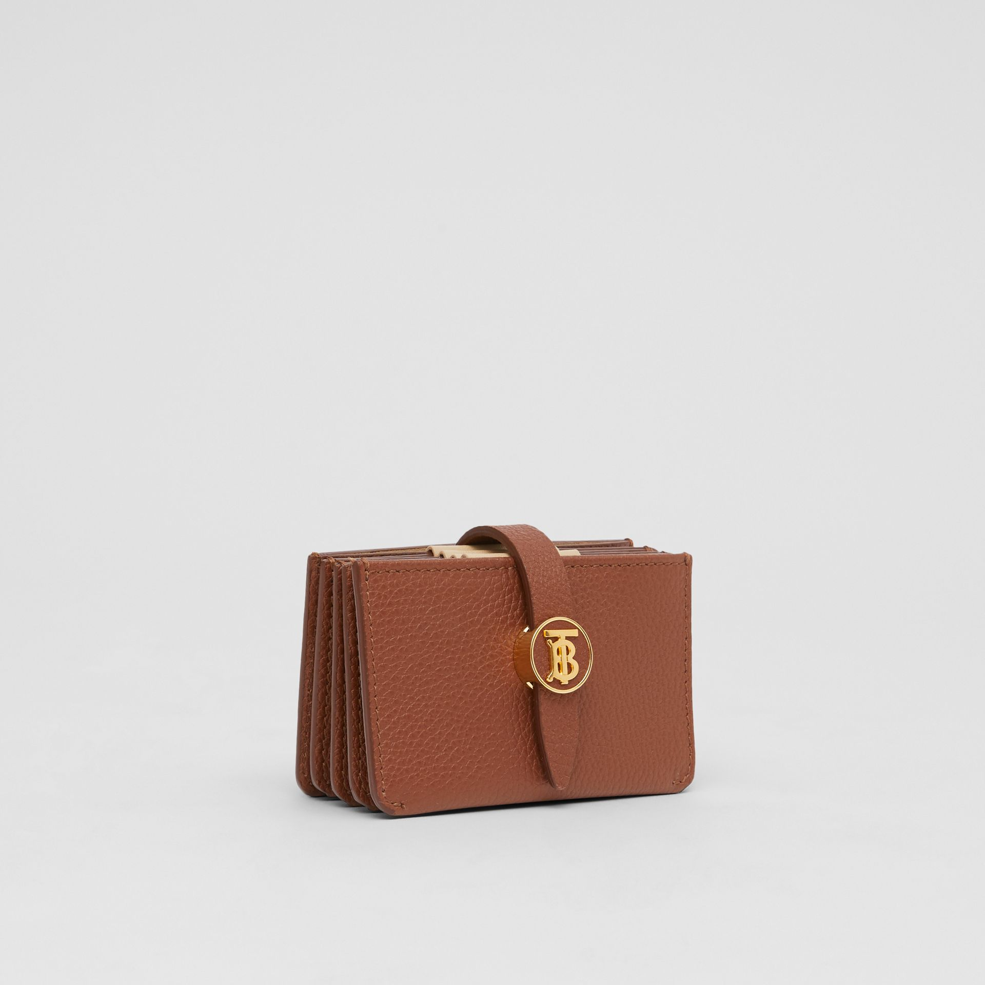 Monogram Motif Grainy Leather Card Case in Tan | Burberry - gallery image 3