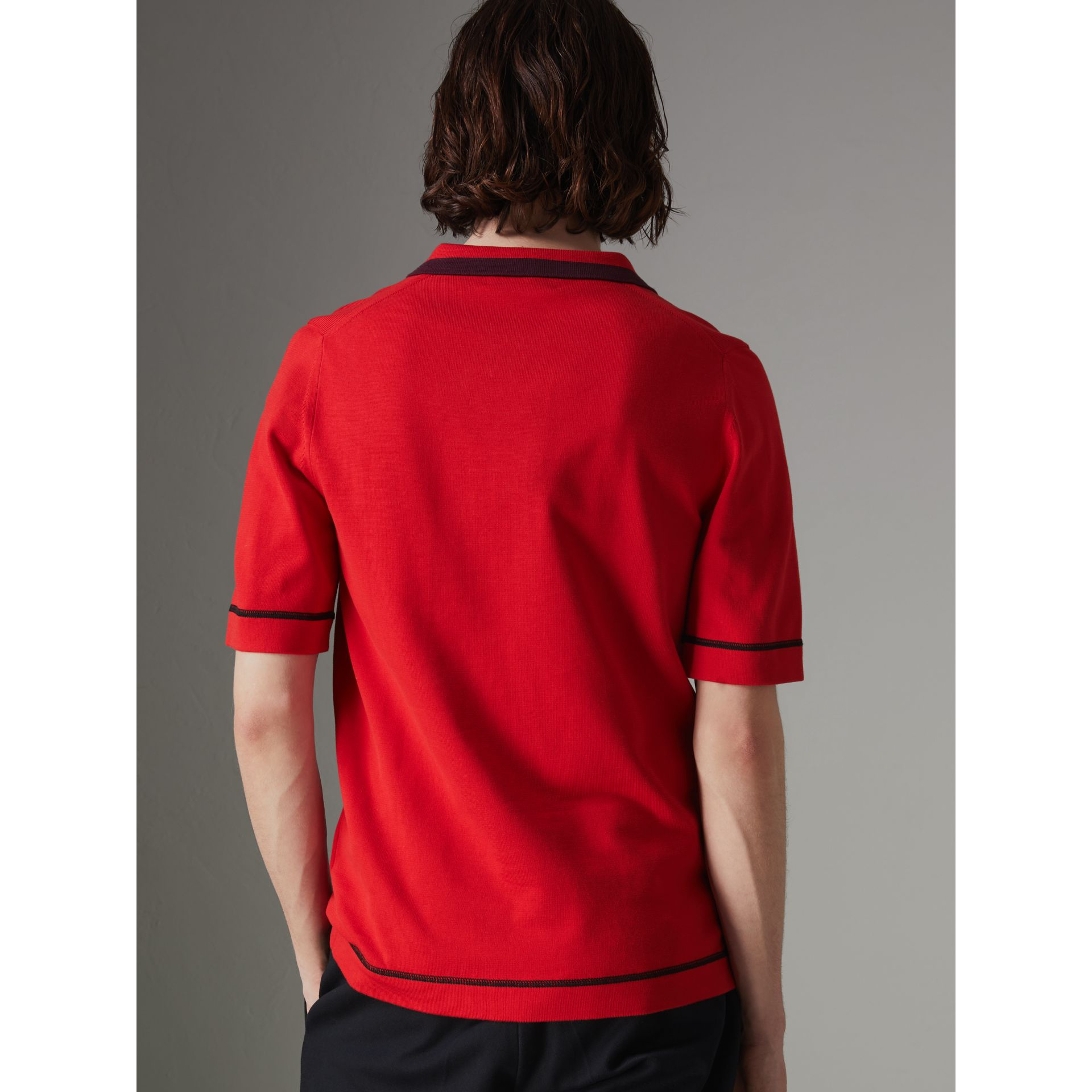 Tipped Cotton Jersey Polo Shirt in Bright Red - Men | Burberry - gallery image 2