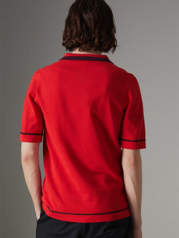 Tipped Cotton Jersey Polo Shirt in Bright Red - Men | Burberry United Kingdom - cell image 2