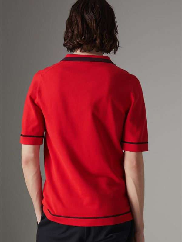 Tipped Cotton Jersey Polo Shirt in Bright Red - Men | Burberry Australia - cell image 2