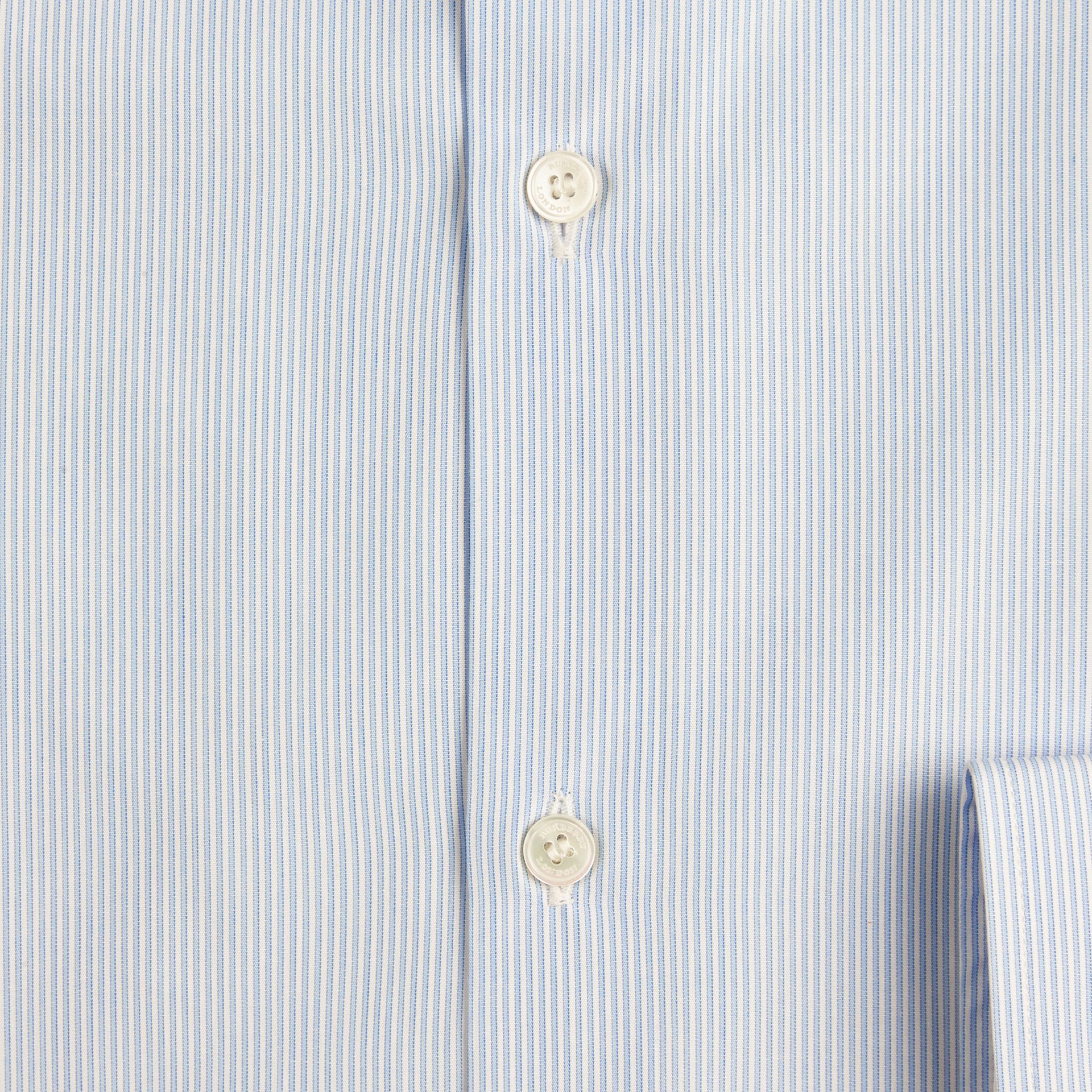 Slim Fit Striped Cotton Poplin Shirt in City Blue - gallery image 2