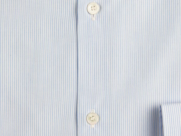 Slim Fit Striped Cotton Poplin Shirt in City Blue - cell image 1