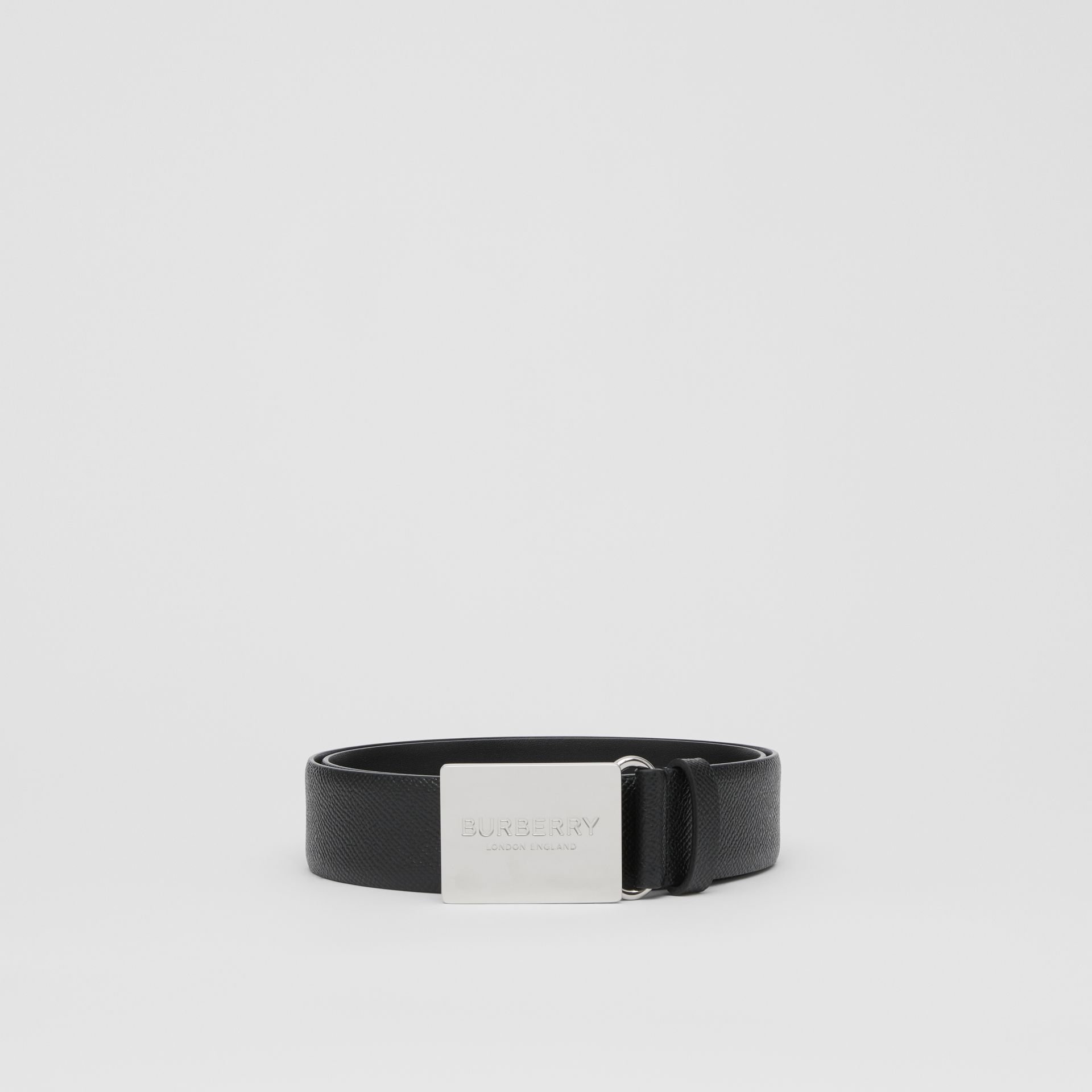 Plaque Buckle Grainy Leather Belt in Black - Men | Burberry Australia - gallery image 3