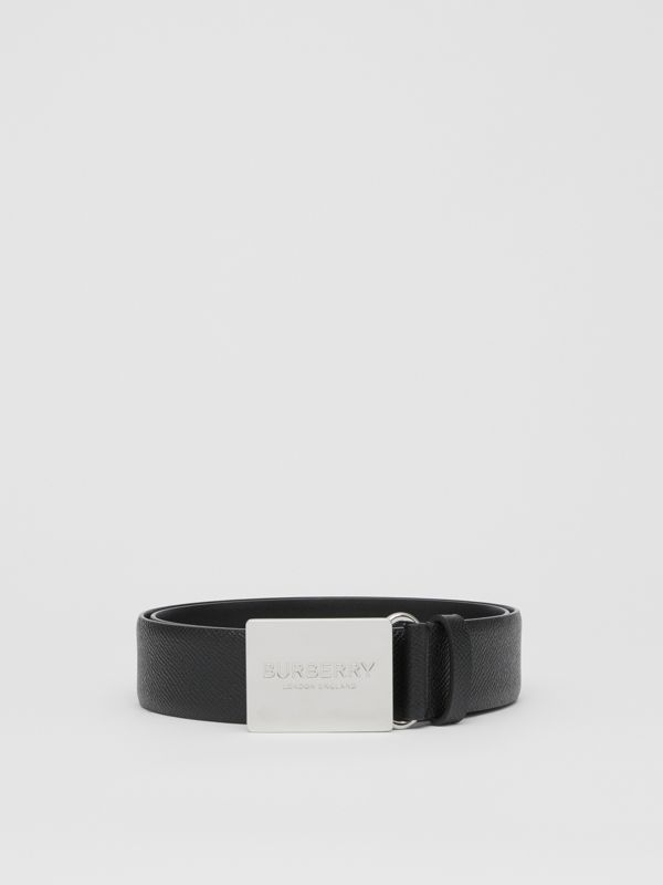 Plaque Buckle Grainy Leather Belt in Black - Men | Burberry United Kingdom - cell image 3