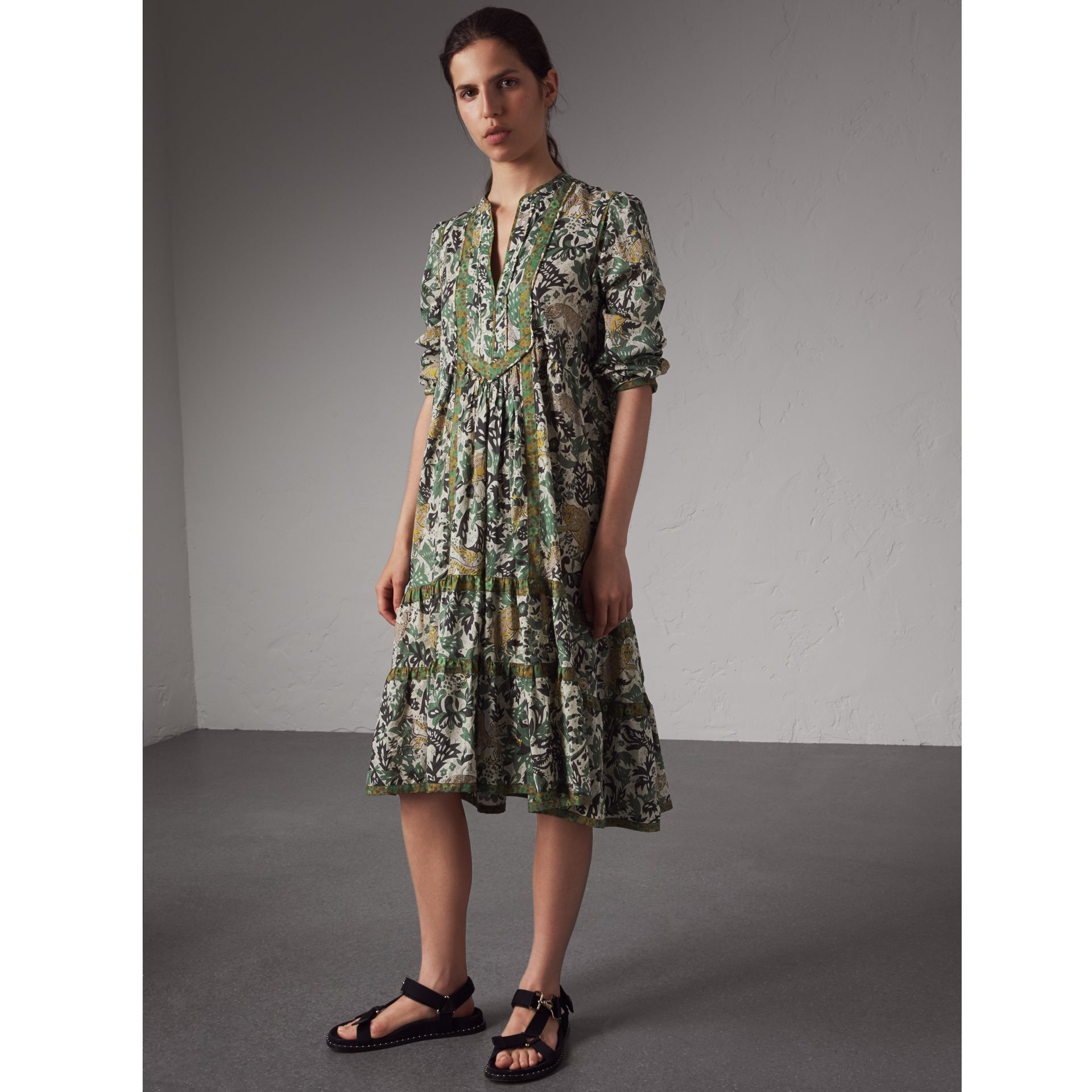 Beasts Print Cotton Day Dress - Women | Burberry Australia - gallery image 1