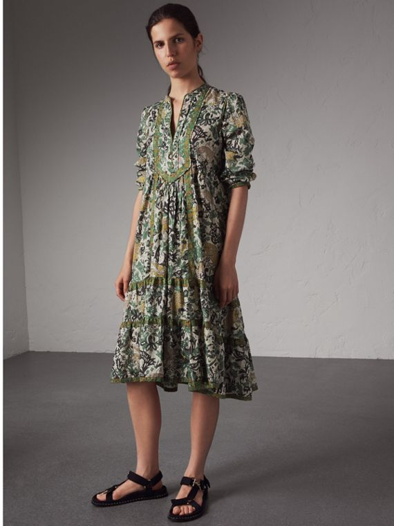 Beasts Print Cotton Day Dress in Chalk Green