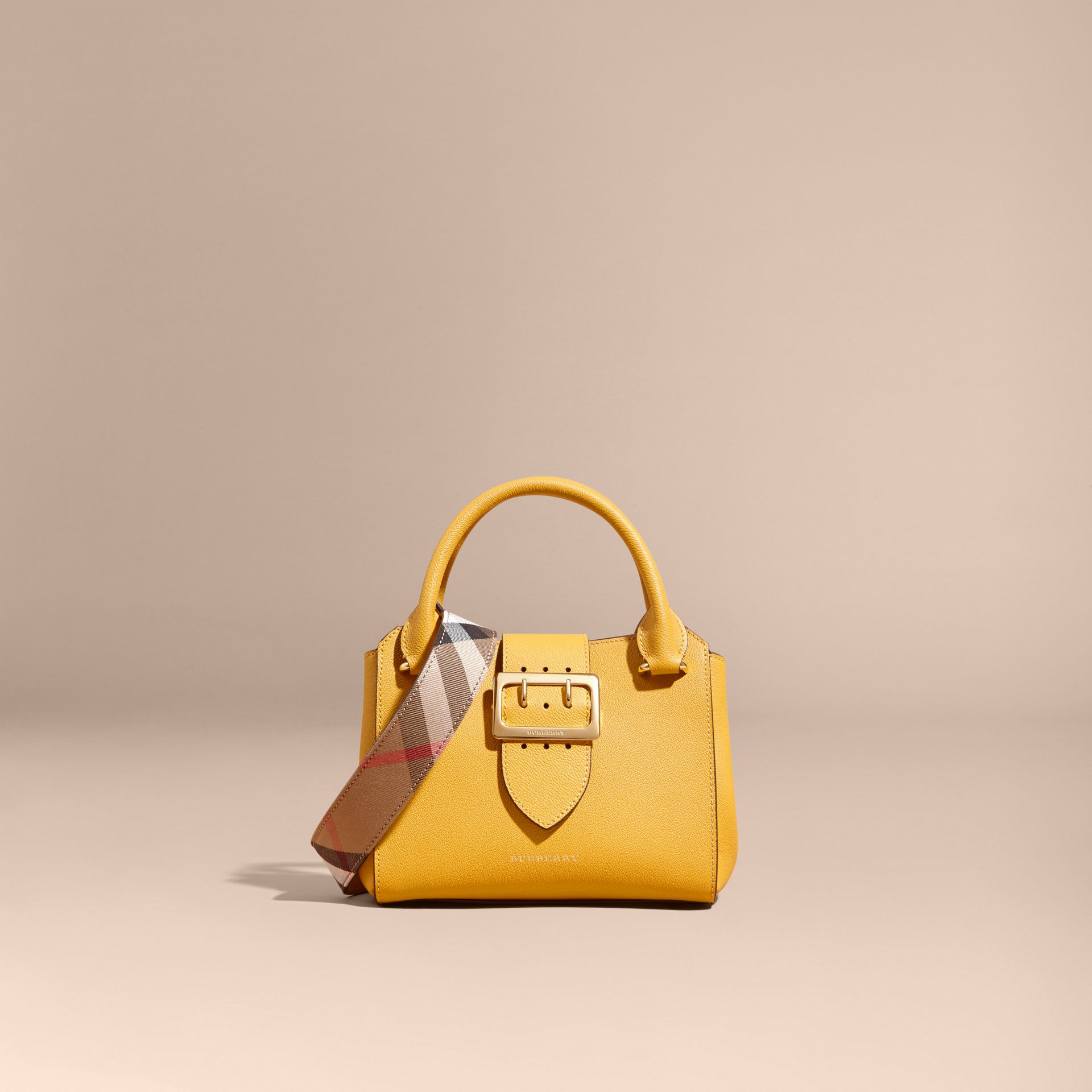The Small Buckle Tote in Grainy Leather in Bright Straw - Women | Burberry - gallery image 8