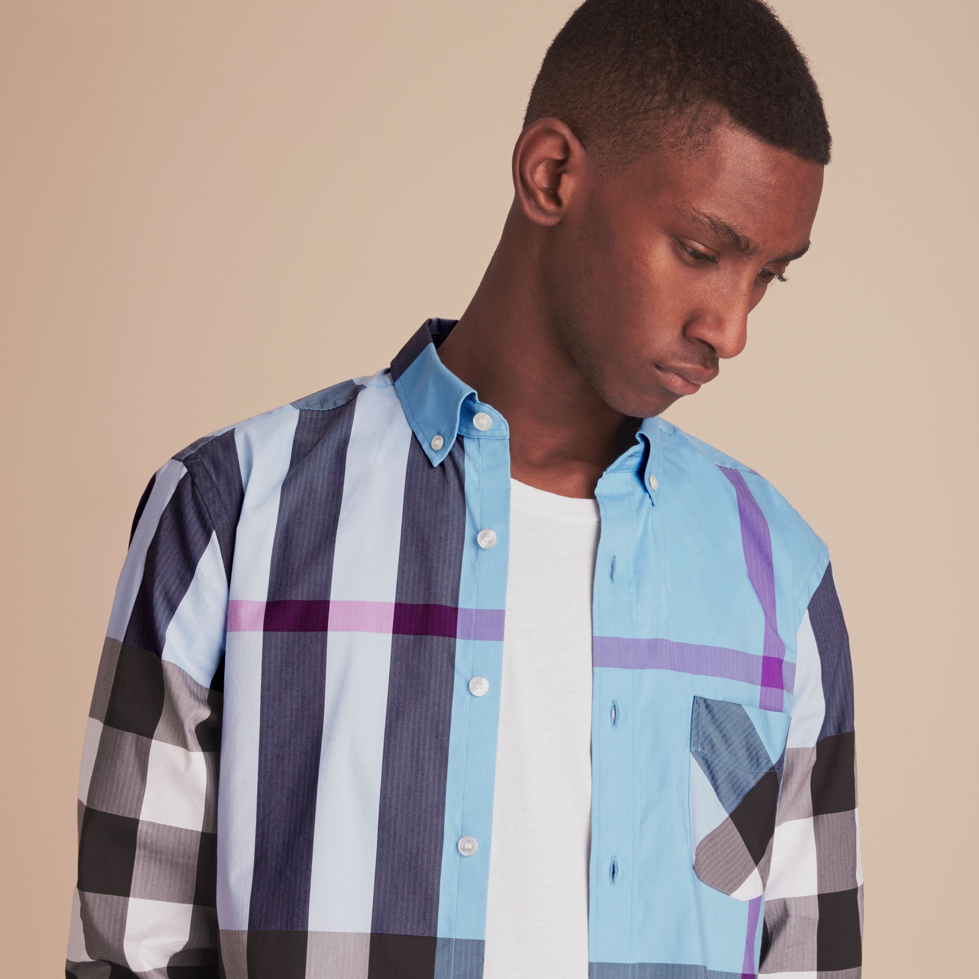 Button-down Collar Check Stretch Cotton Blend Shirt in Cyan Blue - Men | Burberry - gallery image 5