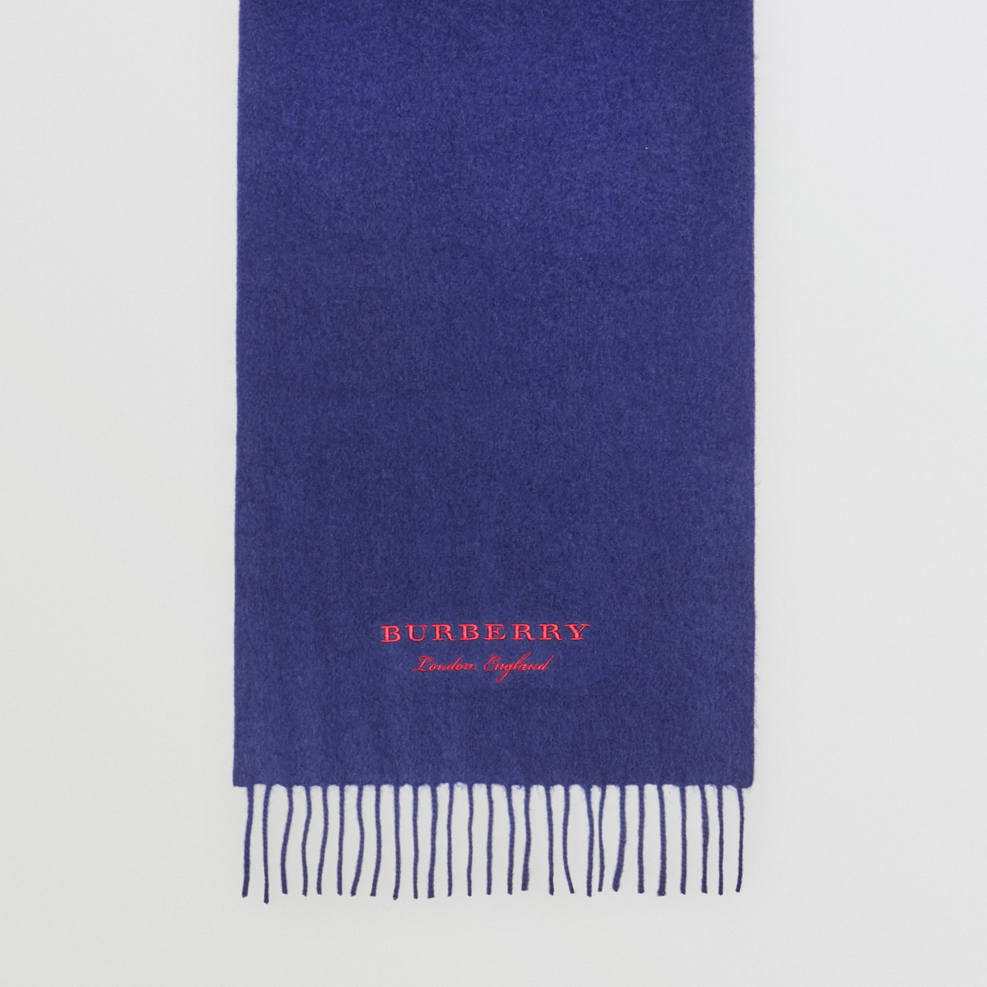 Embroidered Cashmere Fleece Scarf in Bright Navy | Burberry United Kingdom - gallery image 3