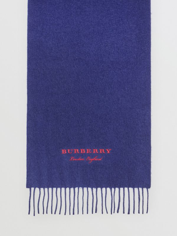 Embroidered Cashmere Fleece Scarf in Bright Navy | Burberry - cell image 3