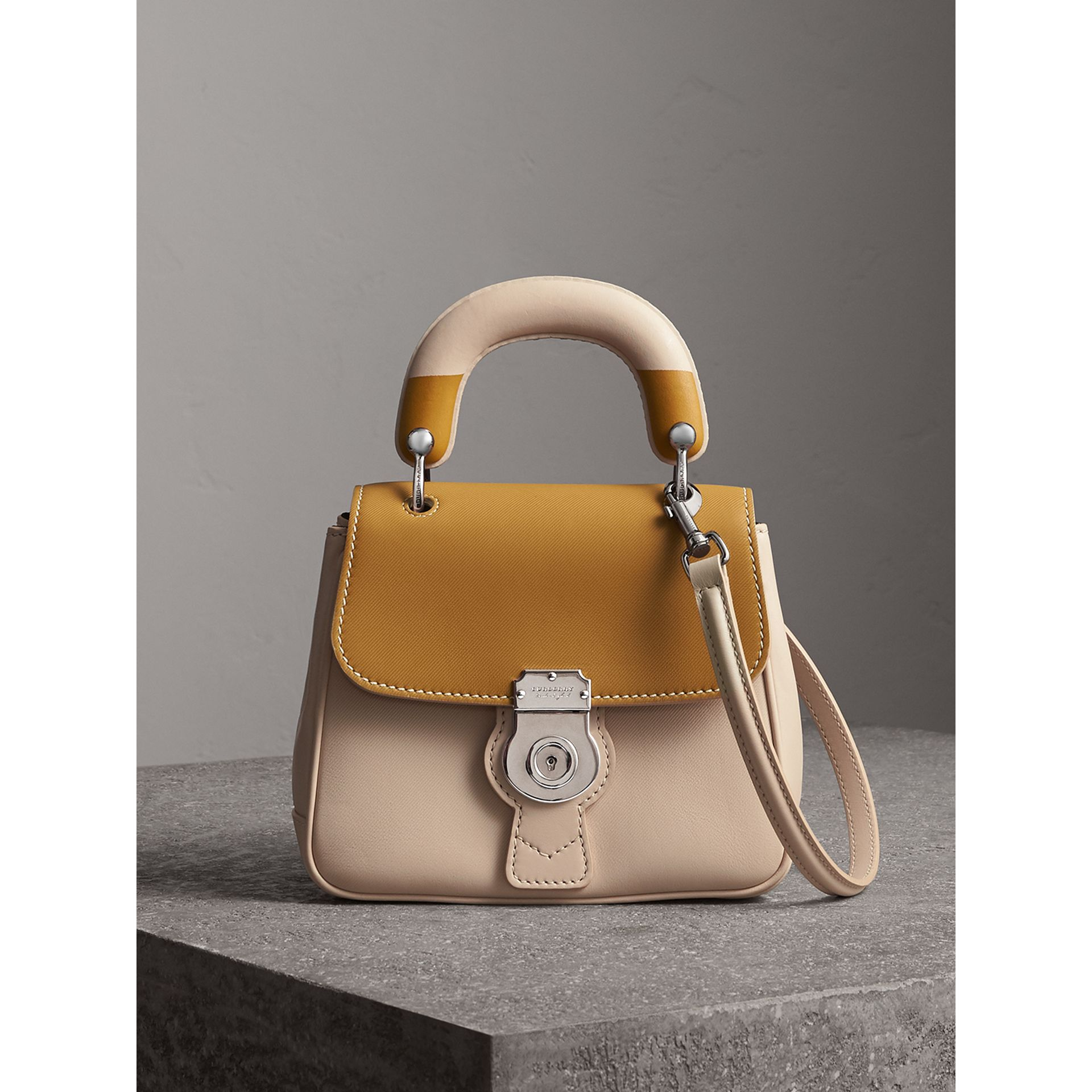 The Small DK88 Top Handle Bag with Geometric Print in Limestone/ochre Yellow - Women | Burberry Singapore - gallery image 1
