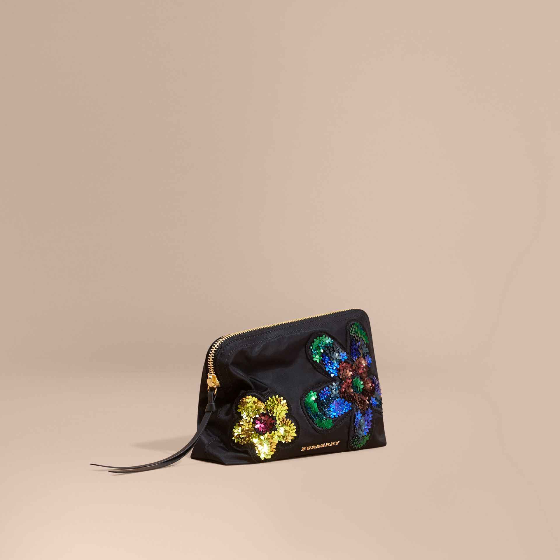 Black Large Zip-top Floral Embellished Pouch - gallery image 1