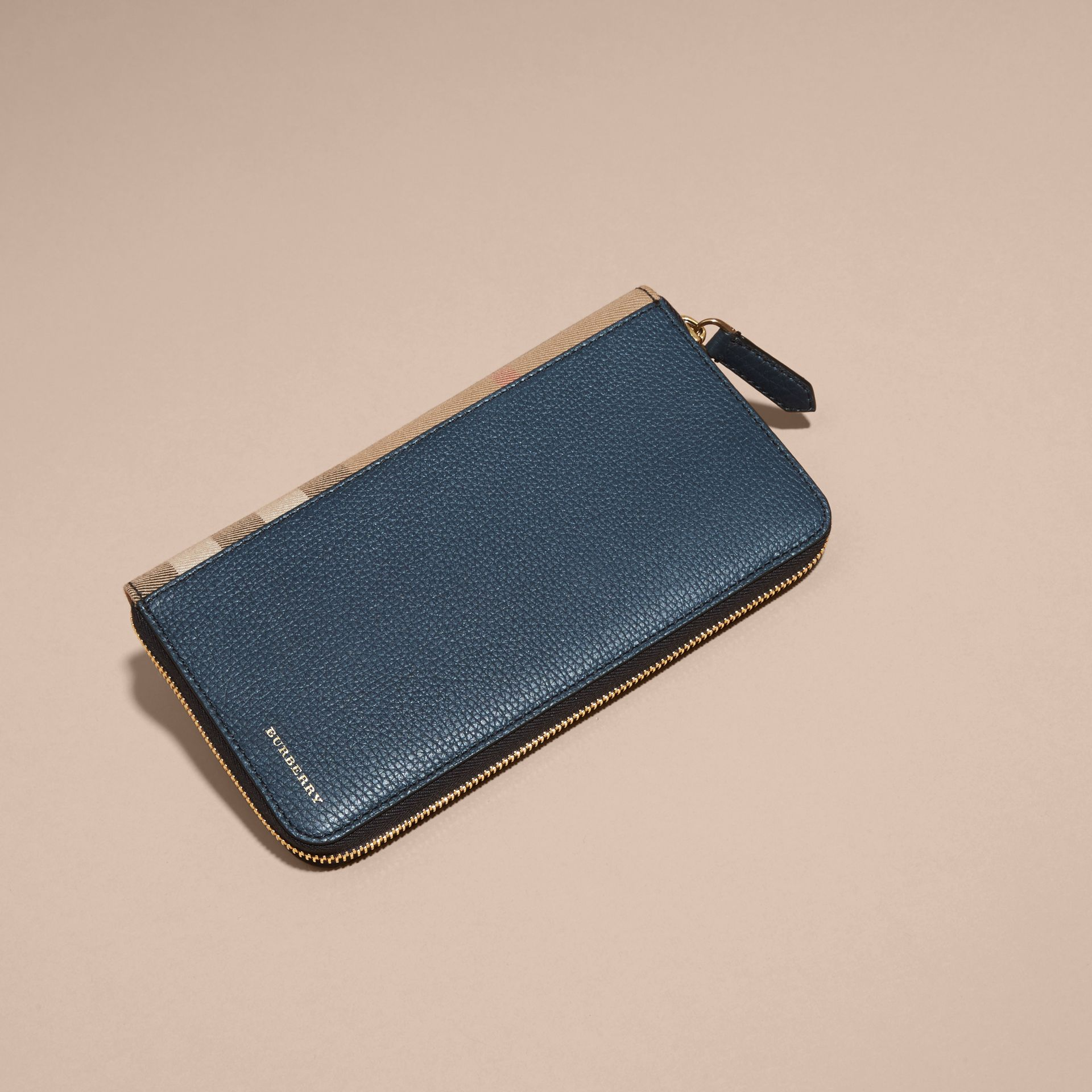 House Check and Grainy Leather Ziparound Wallet Storm Blue - gallery image 6