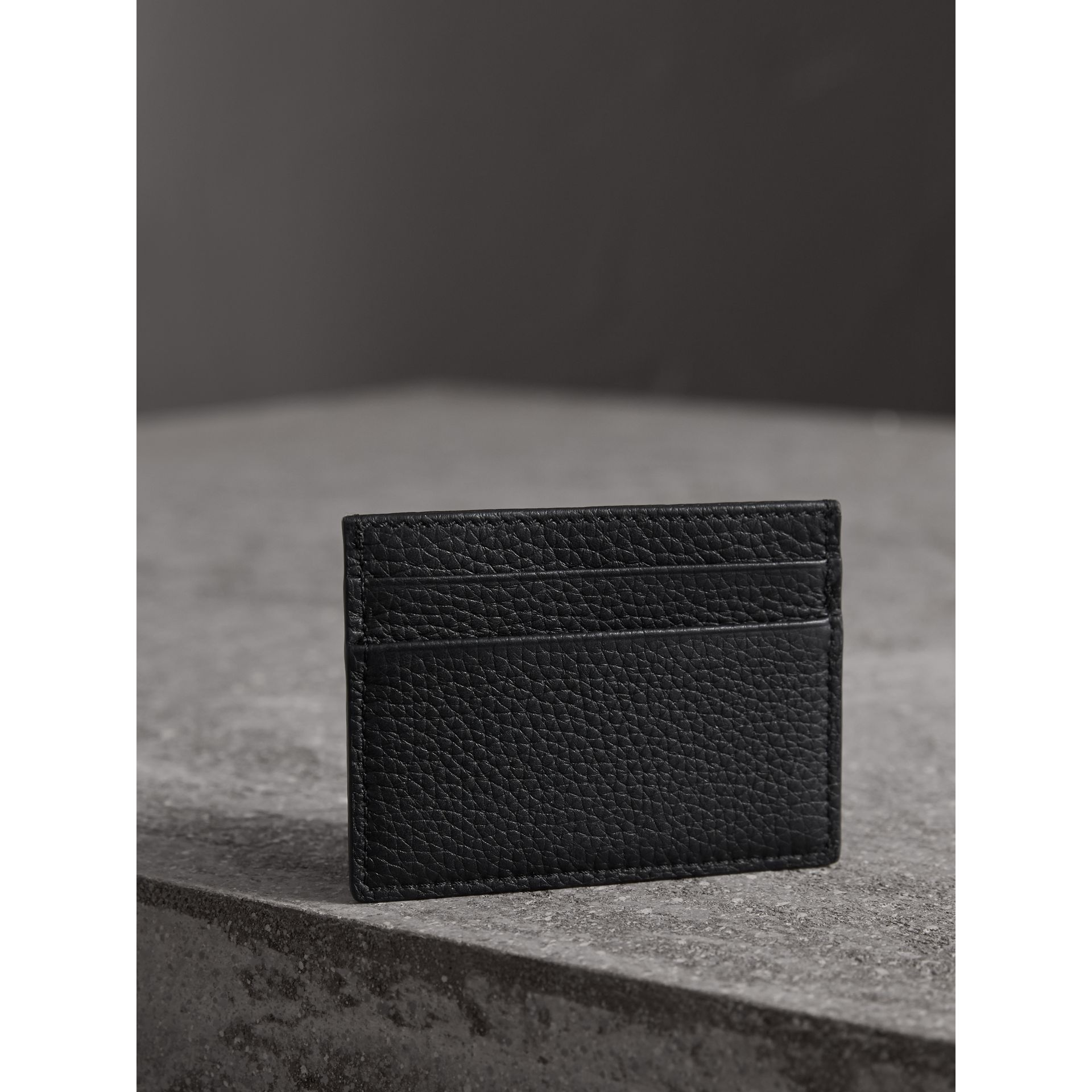 Textured Leather Card Case in Black - Men | Burberry - gallery image 3