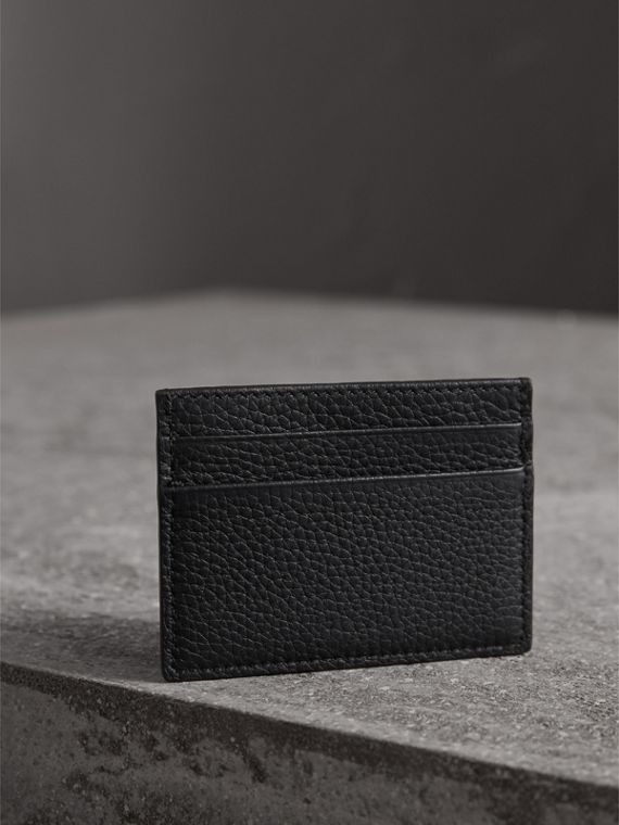 Textured Leather Card Case in Black - Men | Burberry United States - cell image 2