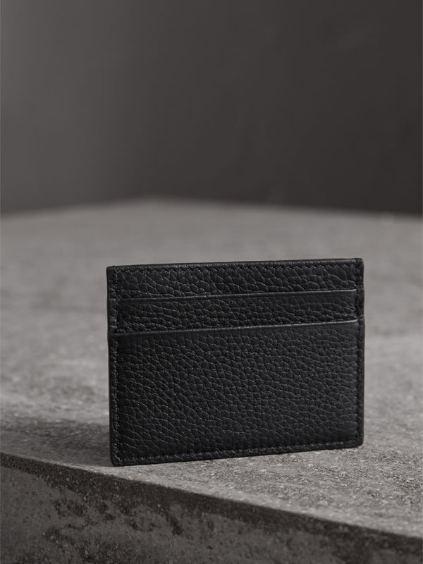 Textured Leather Card Case in Black | Burberry - cell image 2