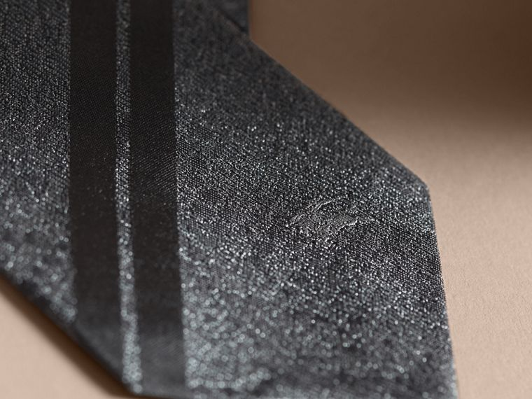 Modern Cut Python Jacquard Silk Tie Charcoal - cell image 1