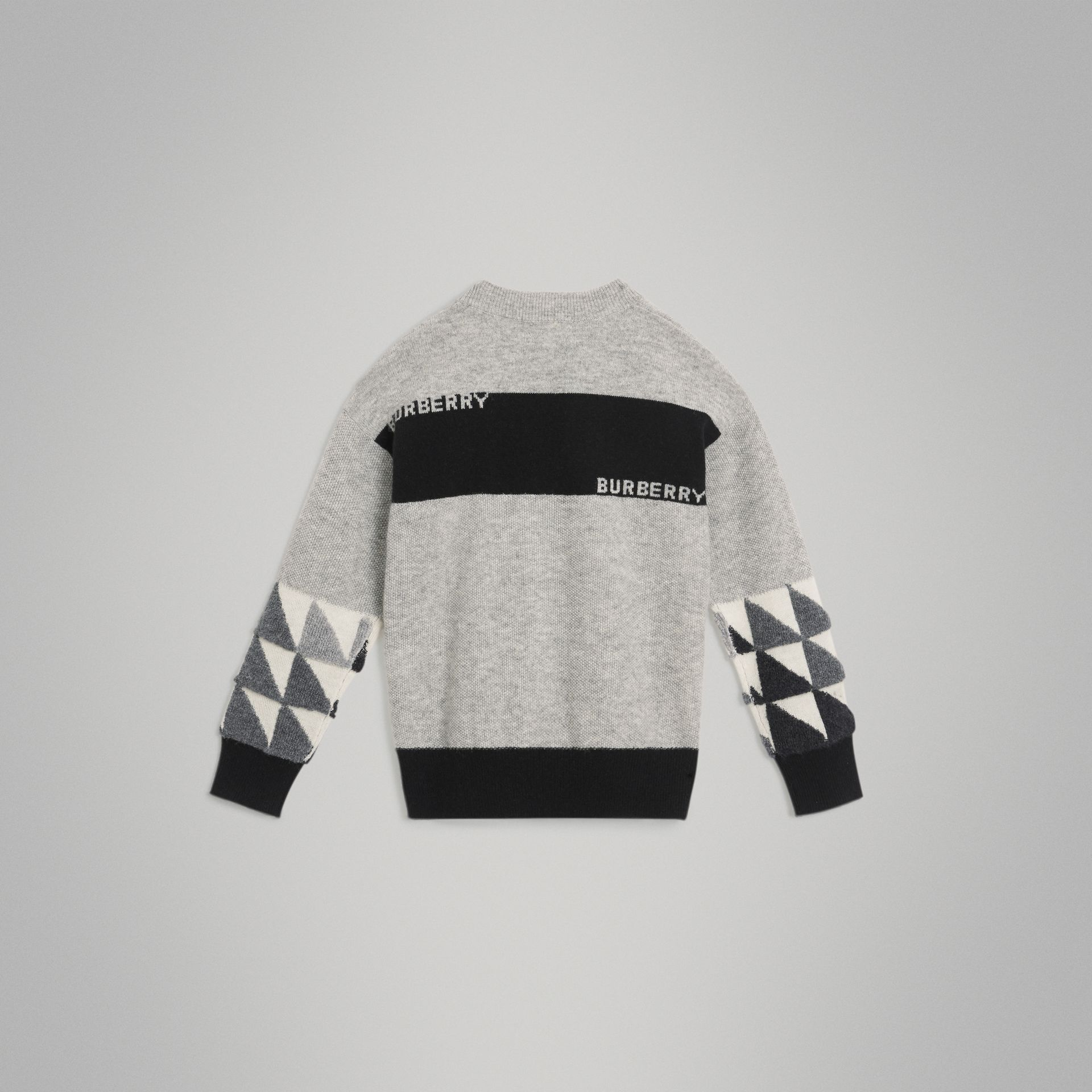 Logo Intarsia Cashmere Sweater in Grey Melange | Burberry - gallery image 3