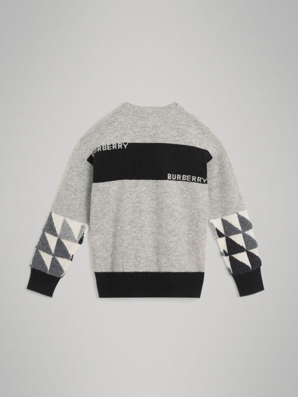 Logo Intarsia Cashmere Sweater in Grey Melange | Burberry Australia - cell image 3