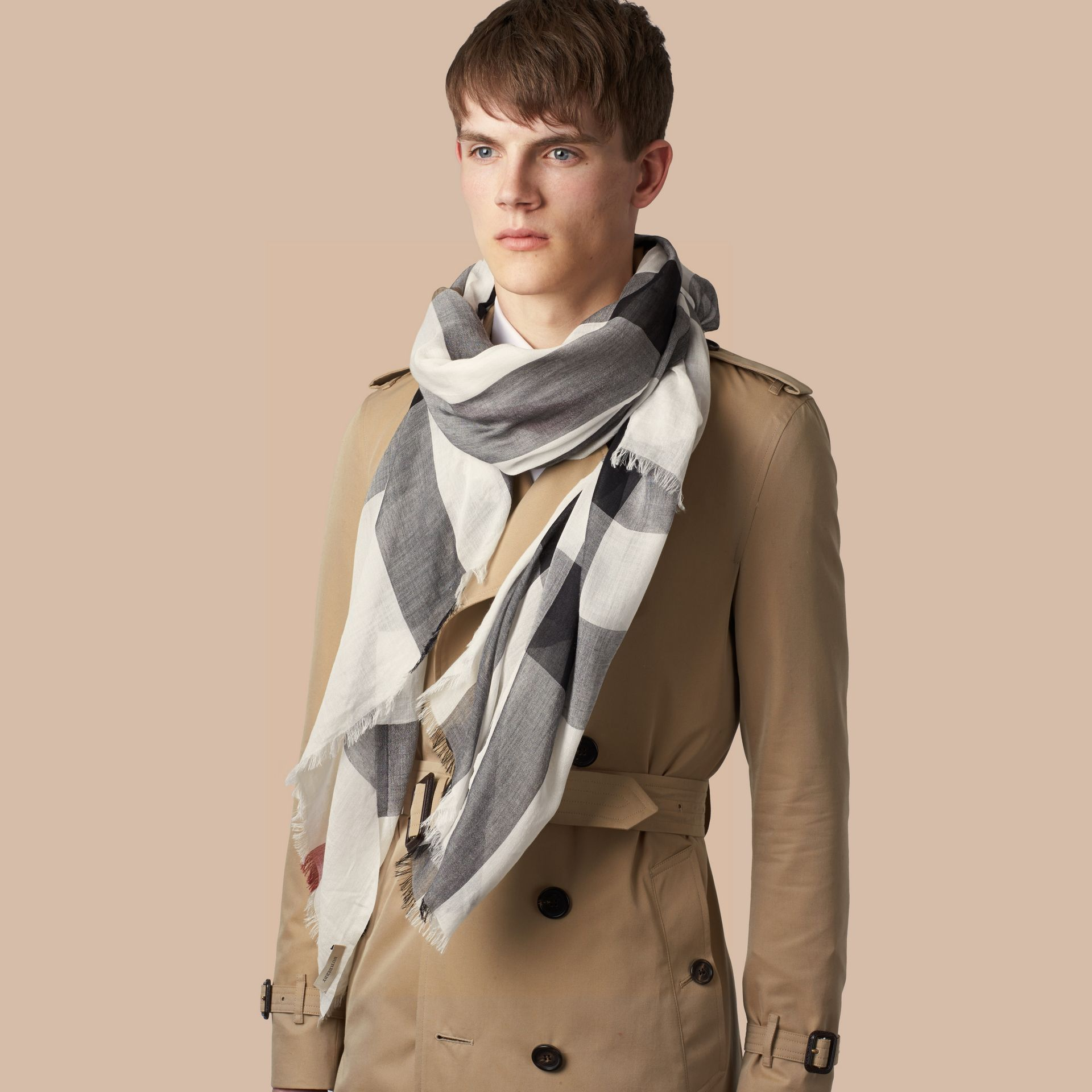 Check Modal Cashmere and Silk Scarf in Ivory | Burberry United Kingdom - gallery image 3