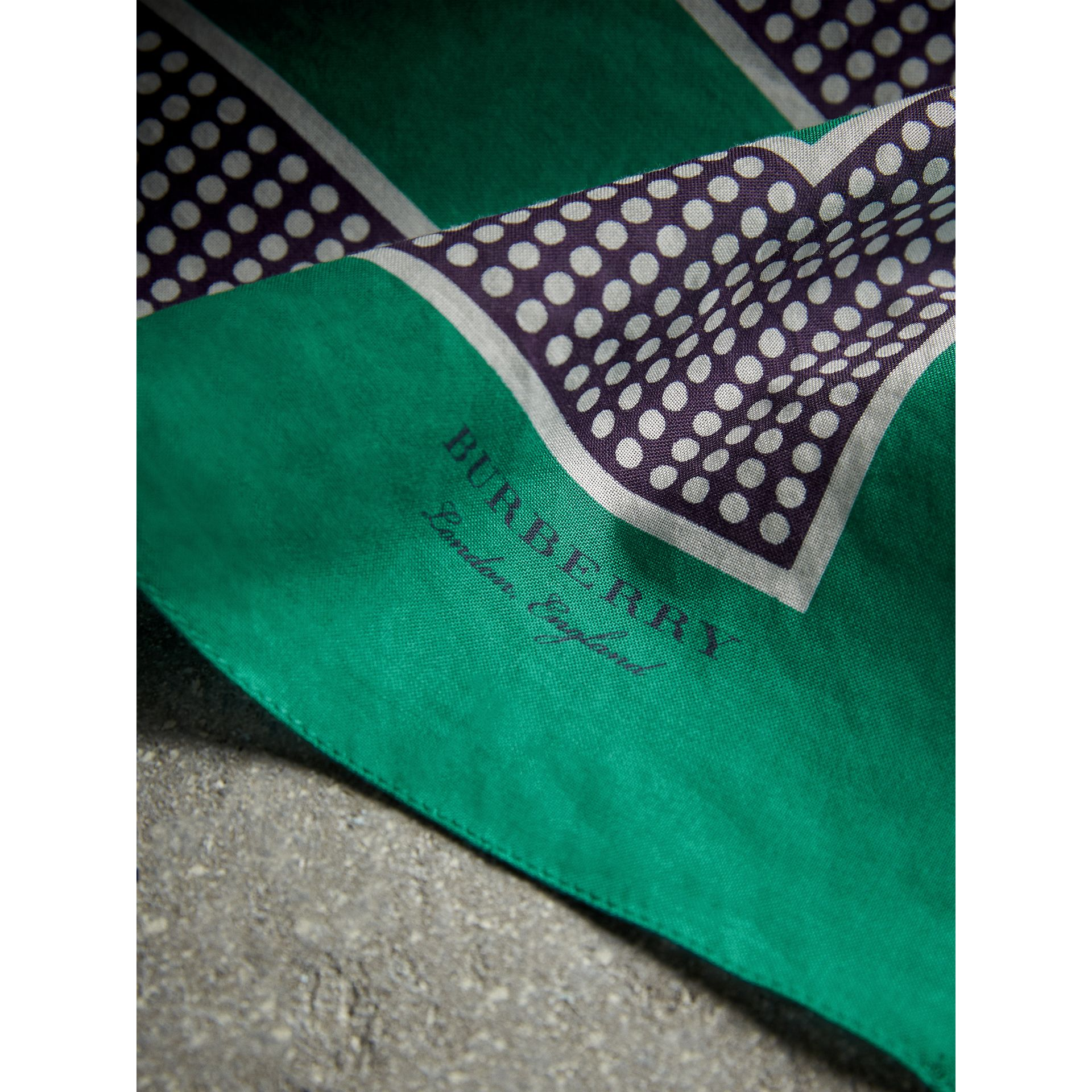 Dot and Stripe Print Cotton Square Scarf in Tourmaline Green | Burberry - gallery image 2