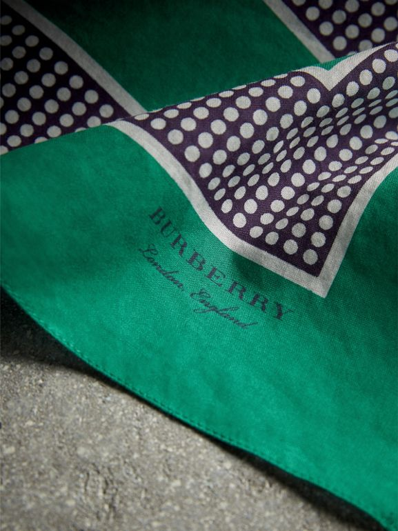 Dot and Stripe Print Cotton Square Scarf in Tourmaline Green | Burberry - cell image 1
