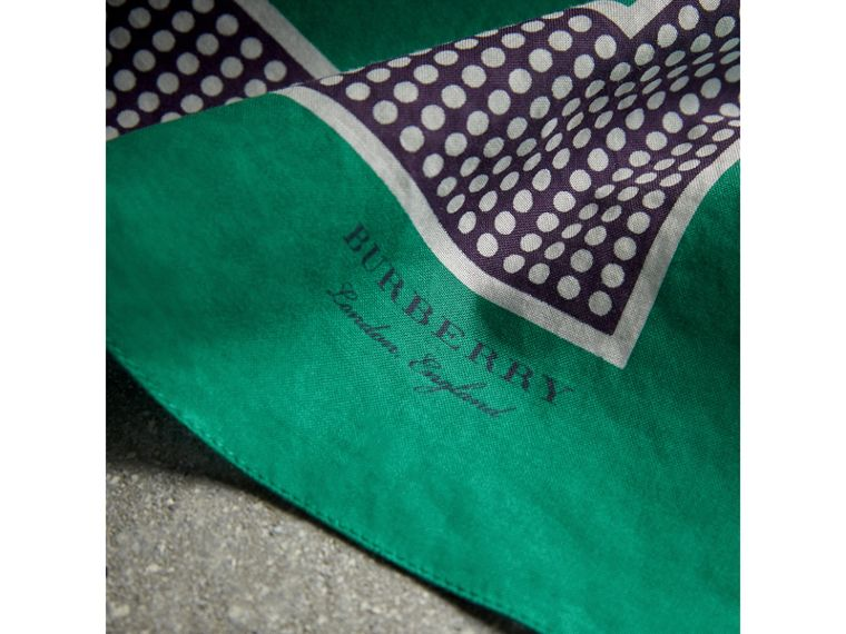 Dot and Stripe Print Cotton Square Scarf in Tourmaline Green | Burberry Singapore - cell image 1