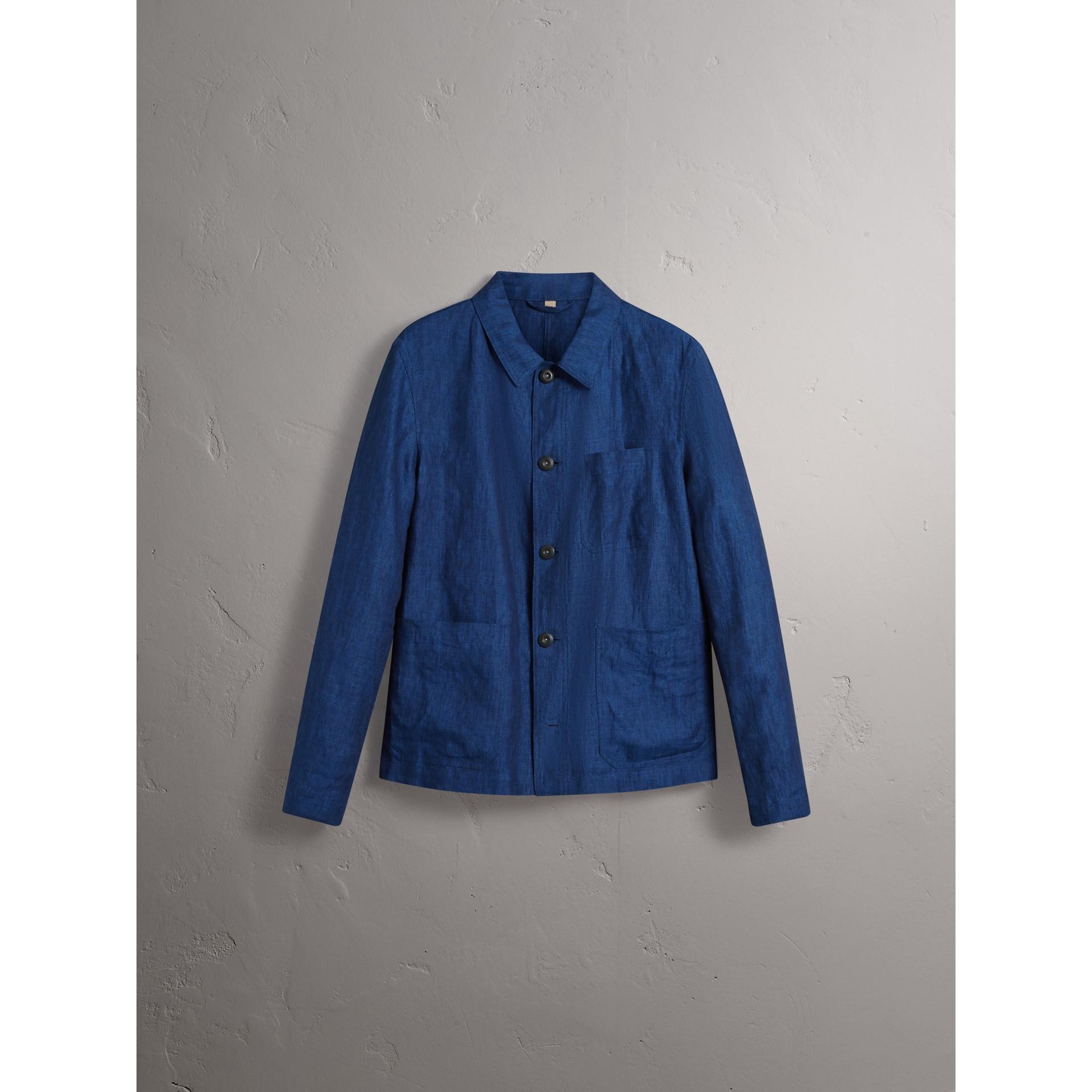 Linen Workwear Jacket in Steel Blue - Men | Burberry - gallery image 4