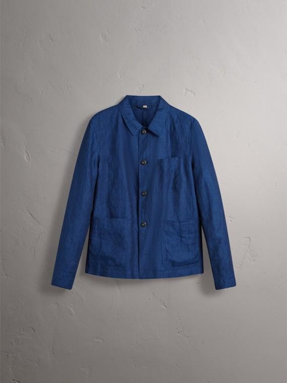 Linen Workwear Jacket in Steel Blue - Men | Burberry - cell image 3