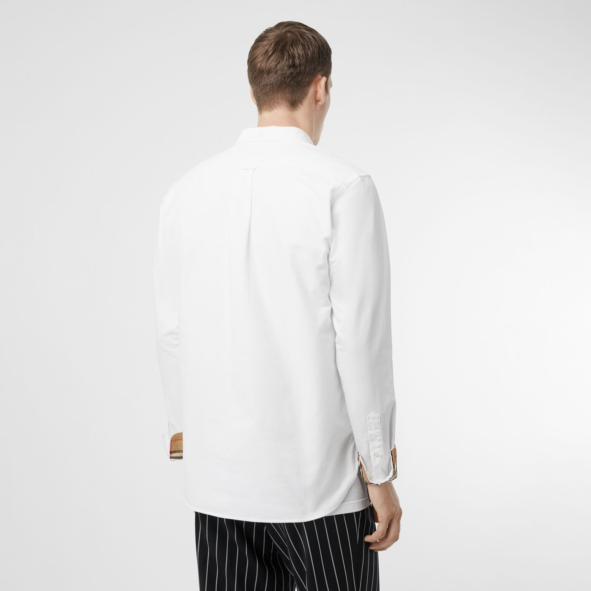 Button-down Collar Cotton Oxford Shirt in White - Men | Burberry United Kingdom - gallery image 2