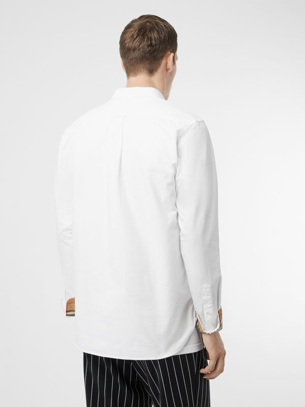 Button-down Collar Cotton Oxford Shirt in White - Men | Burberry Hong Kong - cell image 2