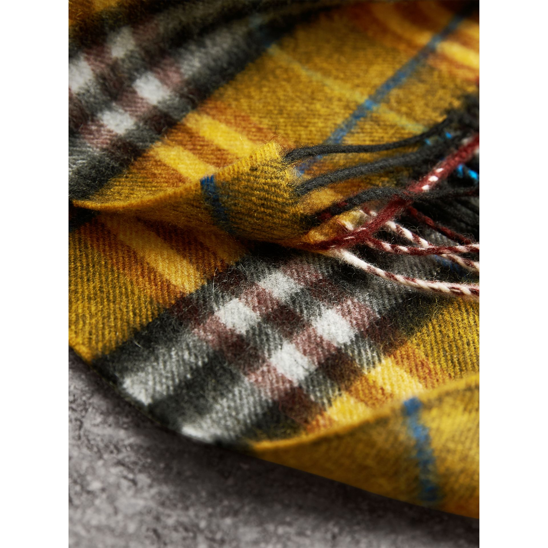 Check Cashmere Scarf in Amber Yellow | Burberry Australia - gallery image 5