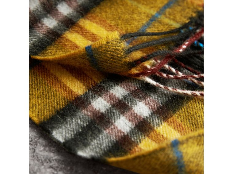 Check Cashmere Scarf in Amber Yellow | Burberry Australia - cell image 4