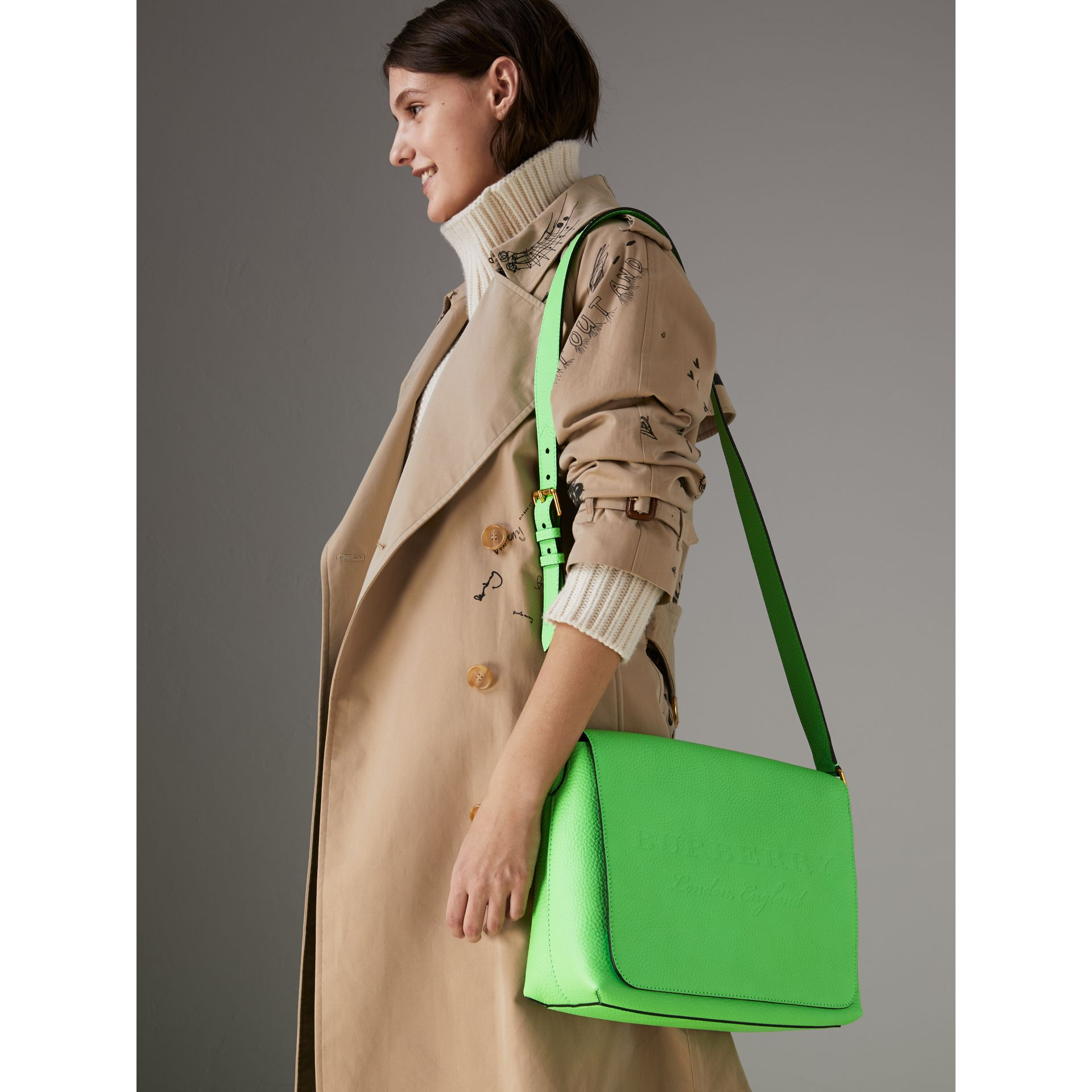 Medium Embossed Leather Messenger Bag in Neon Green | Burberry - gallery image 3