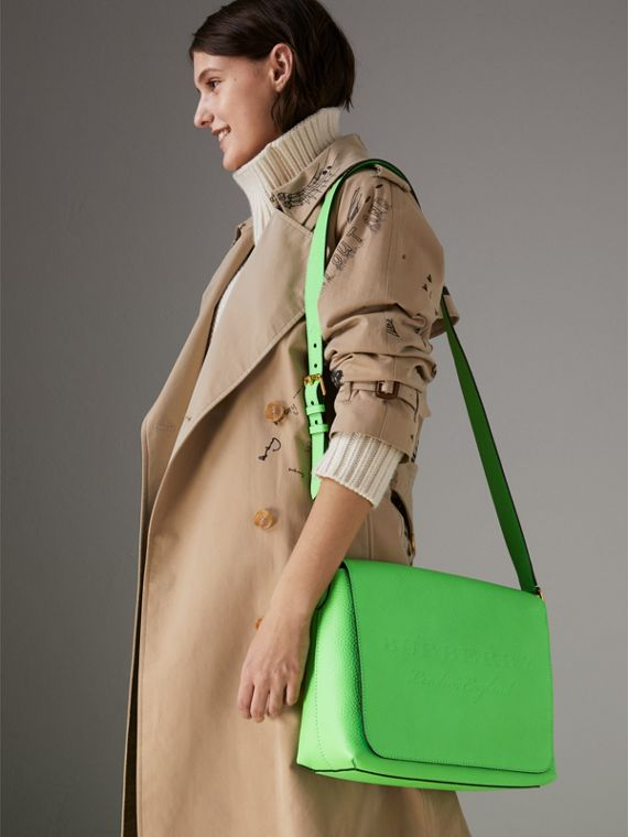 Medium Embossed Leather Messenger Bag in Neon Green | Burberry - cell image 3