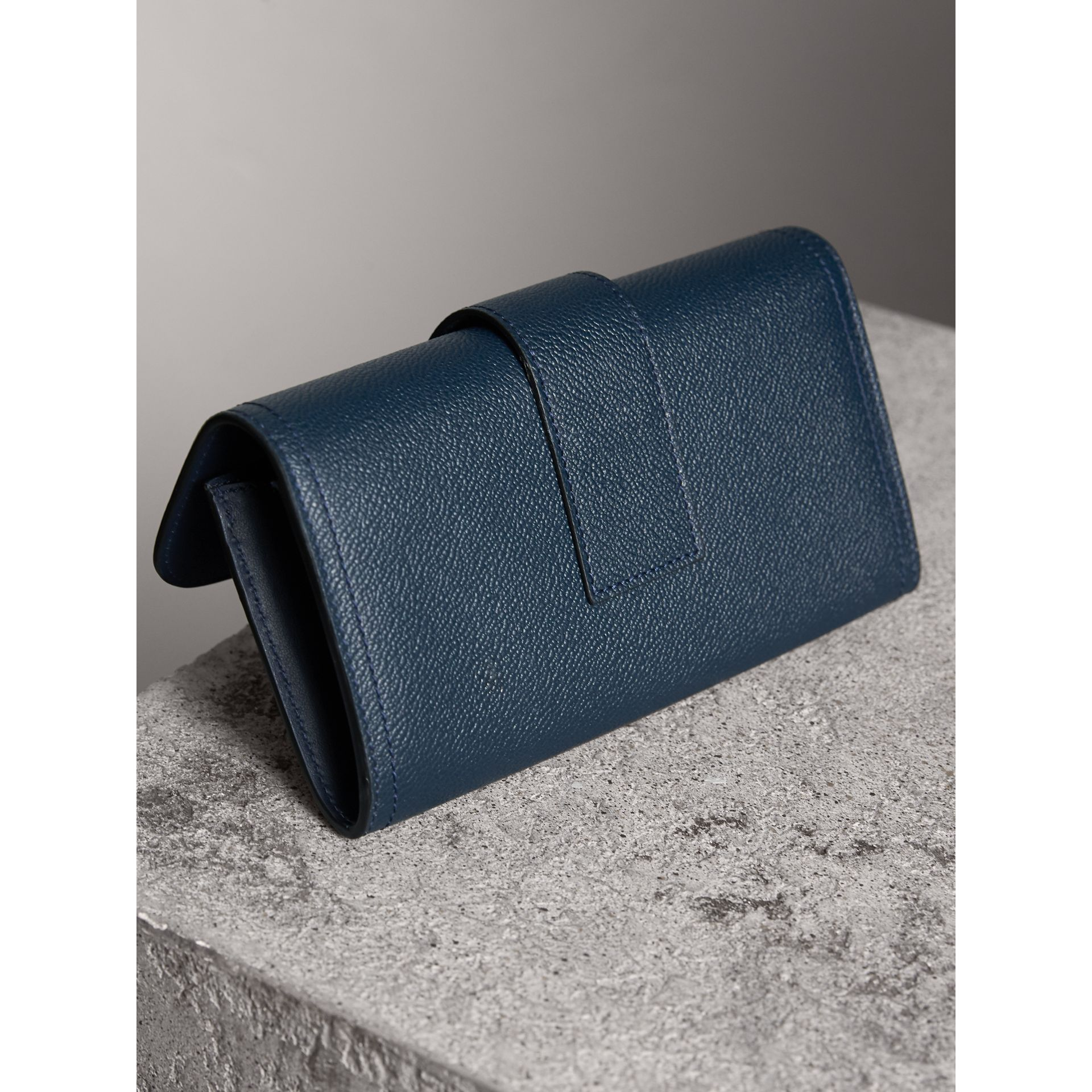 Textured Leather Continental Wallet in Blue Carbon - Women | Burberry - gallery image 3