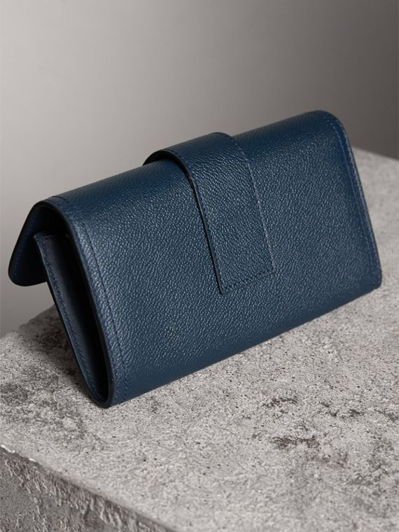 Textured Leather Continental Wallet in Blue Carbon - Women | Burberry Australia - cell image 2