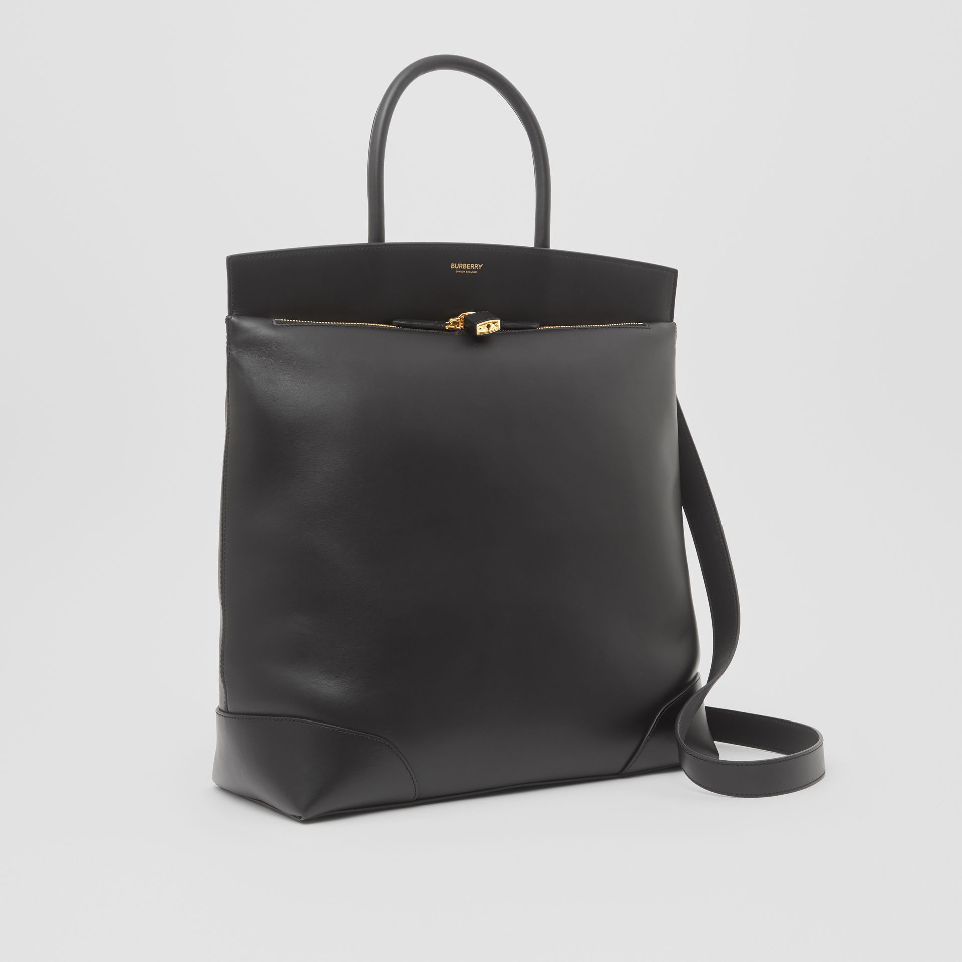 Leather Portrait Society Tote in Black - Men | Burberry - gallery image 7