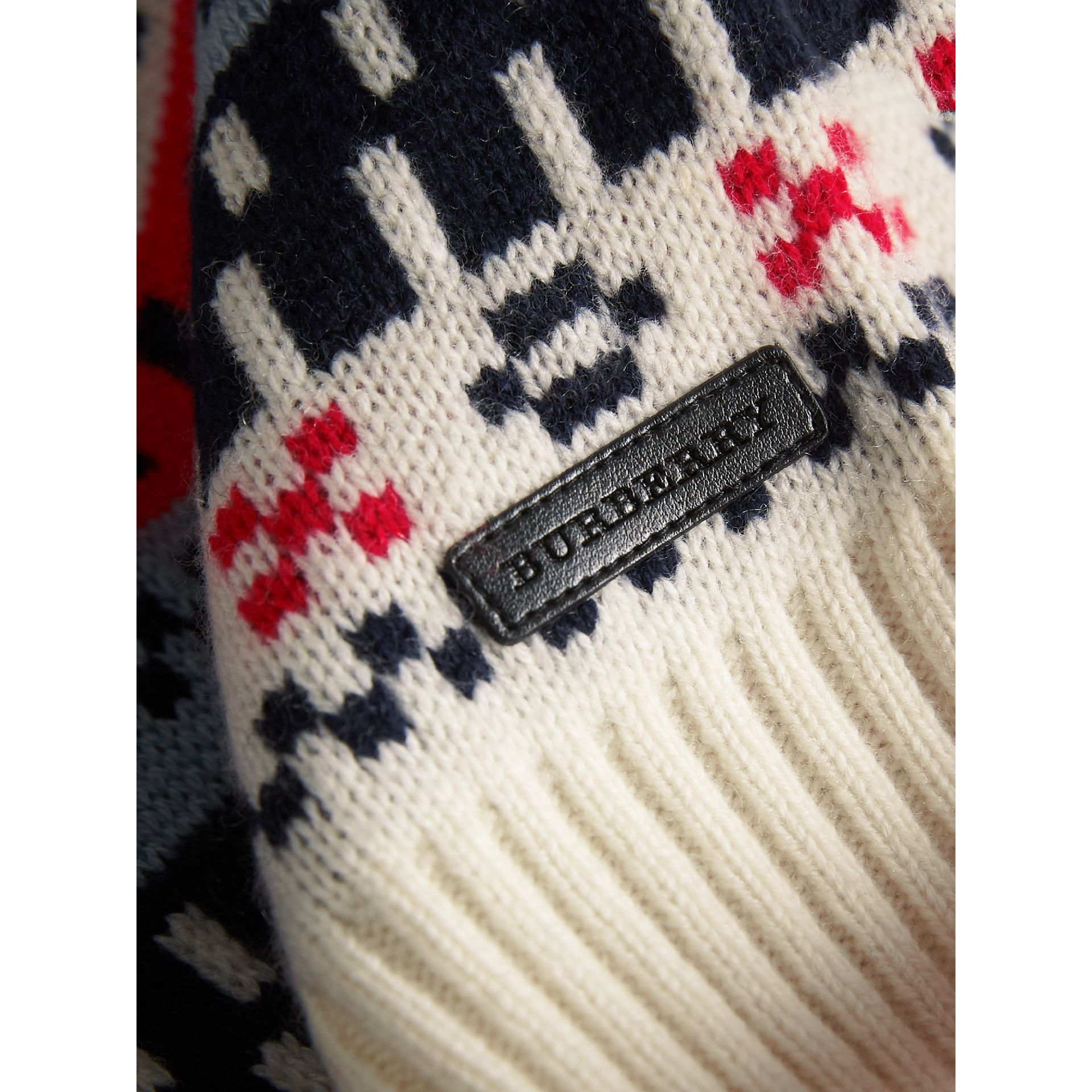 Fair Isle Wool Cashmere Patchwork Sweater in Pewter Blue | Burberry - gallery image 2