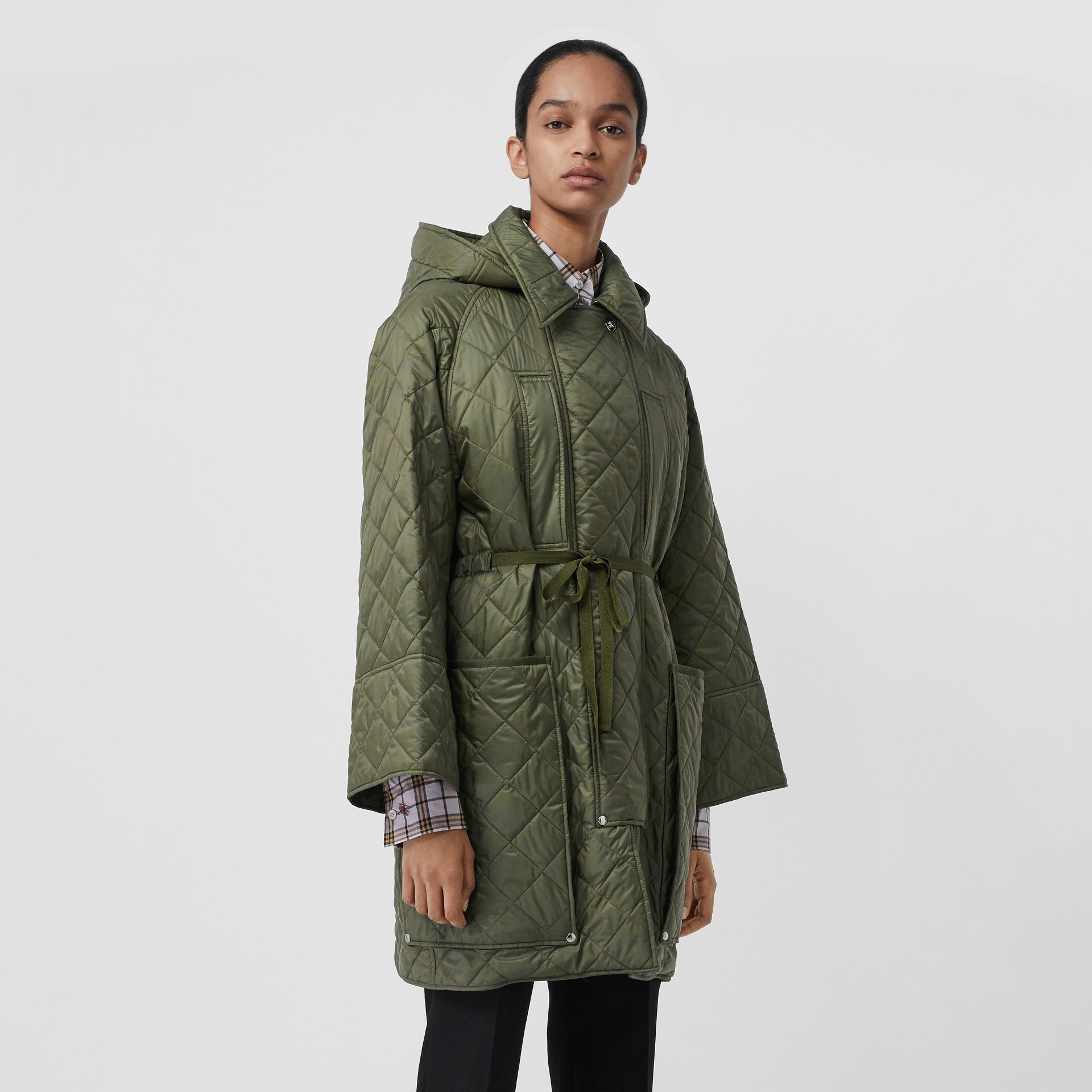 Lightweight Diamond Quilted Hooded Coat in Cadet Green - Women | Burberry - gallery image 4