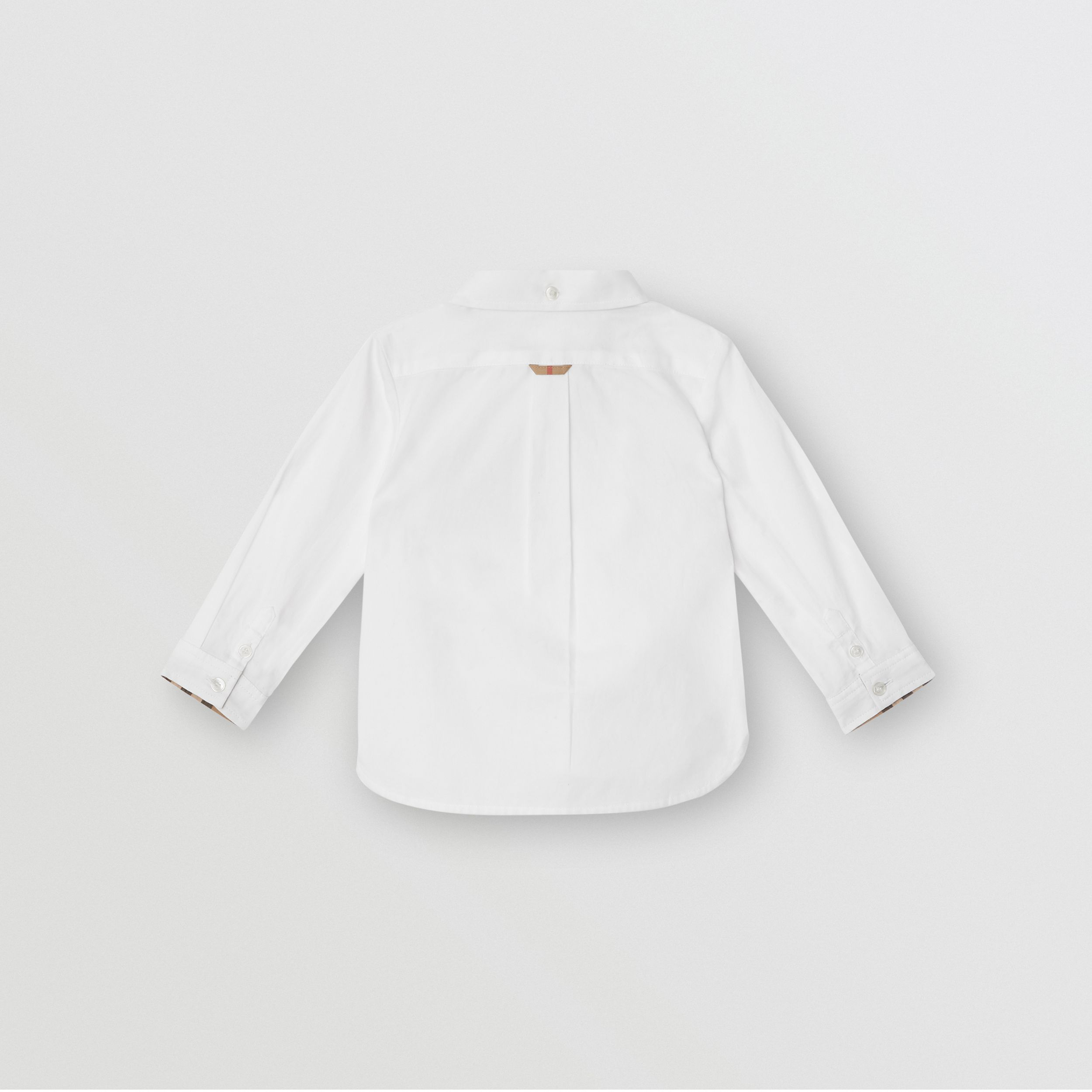 Vintage Check Detail Cotton Oxford Shirt in White - Children | Burberry - 4