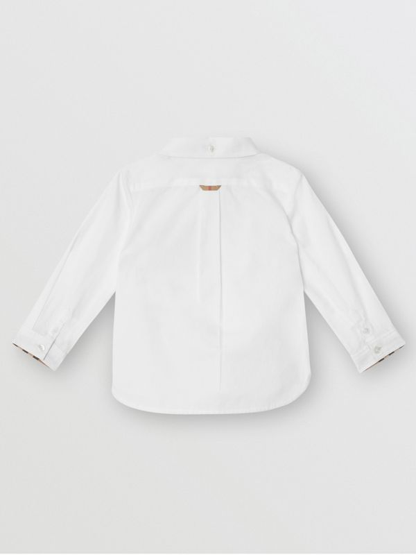Vintage Check Detail Cotton Oxford Shirt in White - Children | Burberry United Kingdom - cell image 3