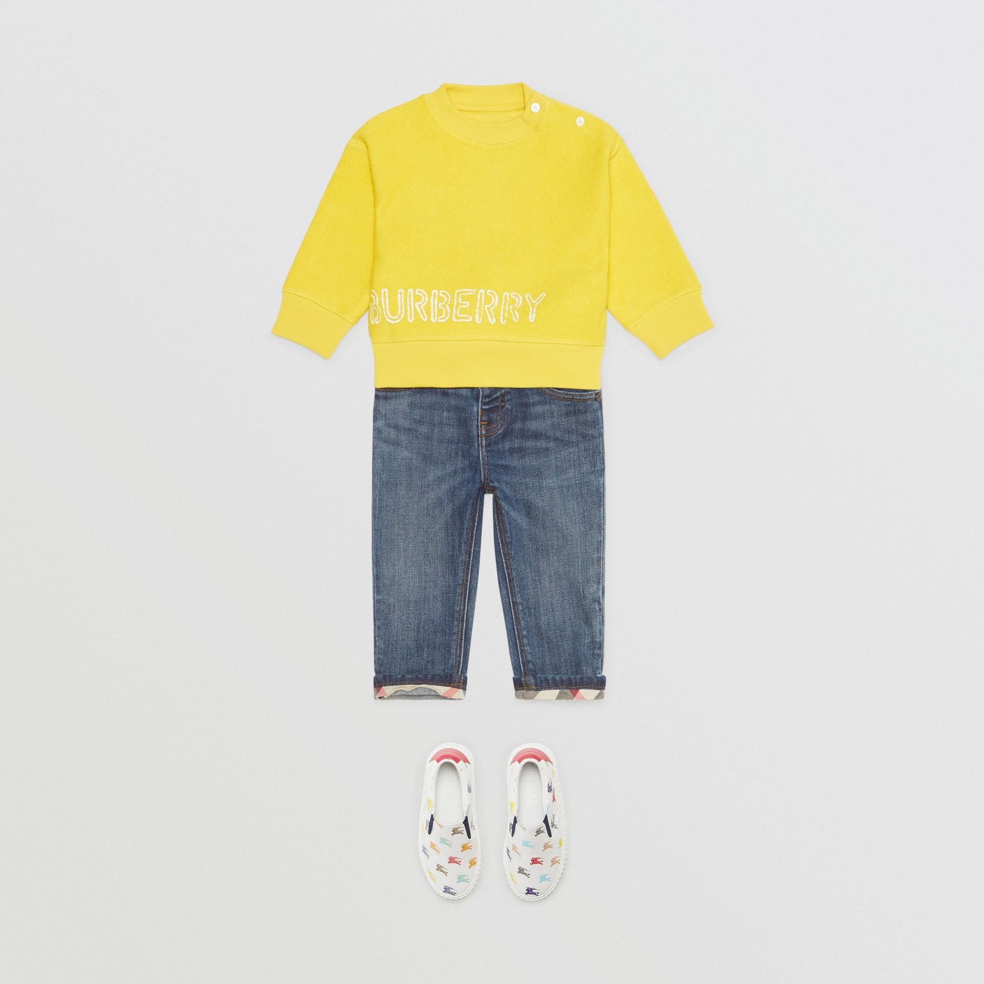 Stencil Logo Print Cotton Sweatshirt in Citron - Children | Burberry - gallery image 3