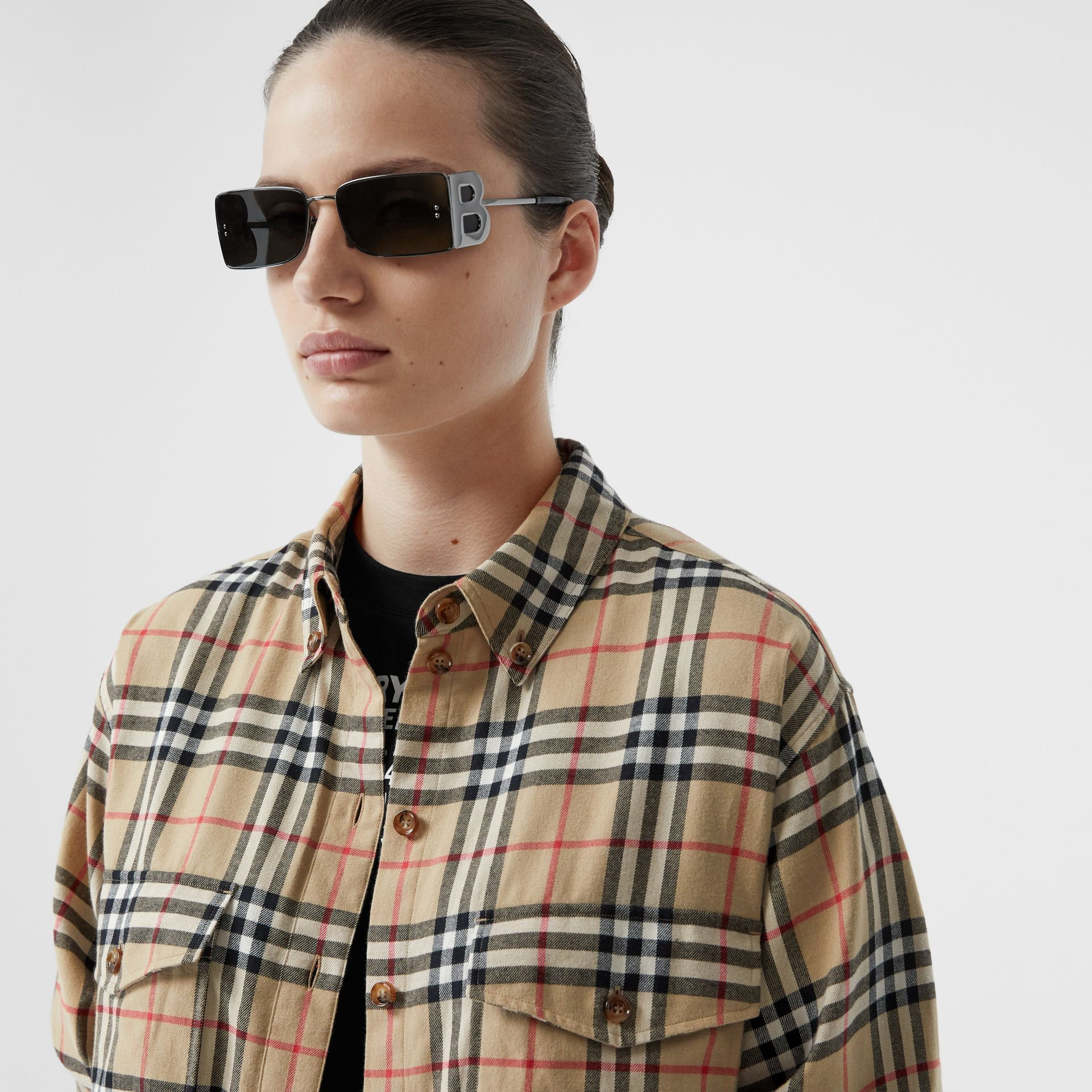 Vintage Check Cotton Flannel Oversized Shirt in Archive Beige - Women | Burberry - gallery image 5