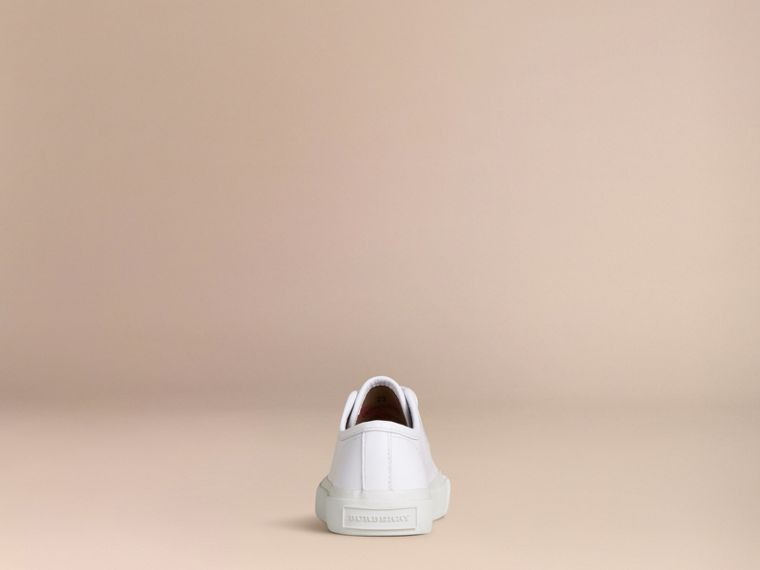 White Leather Lace-Up Trainers - cell image 2