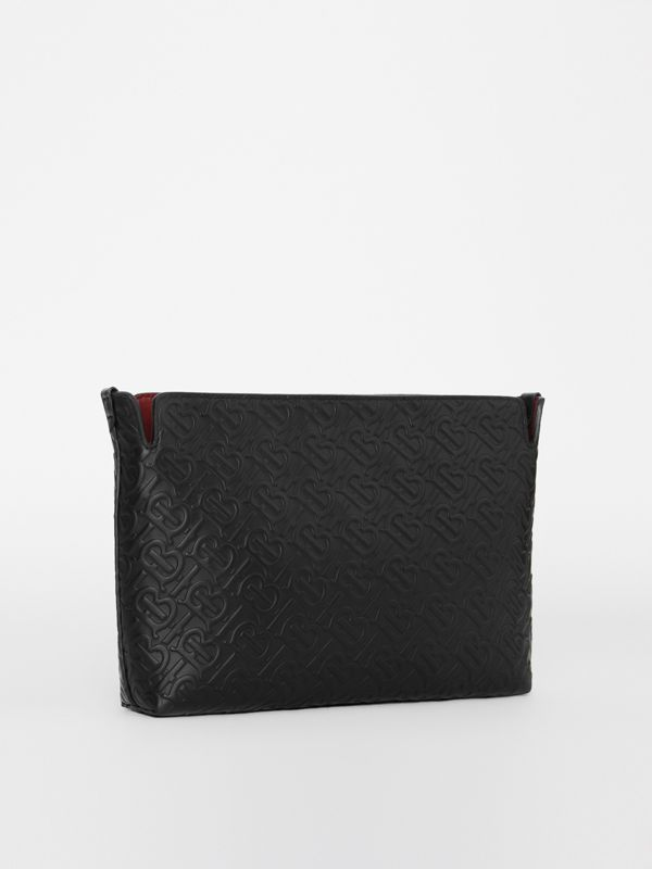 Medium Monogram Leather Clutch in Black - Women | Burberry United States - cell image 3