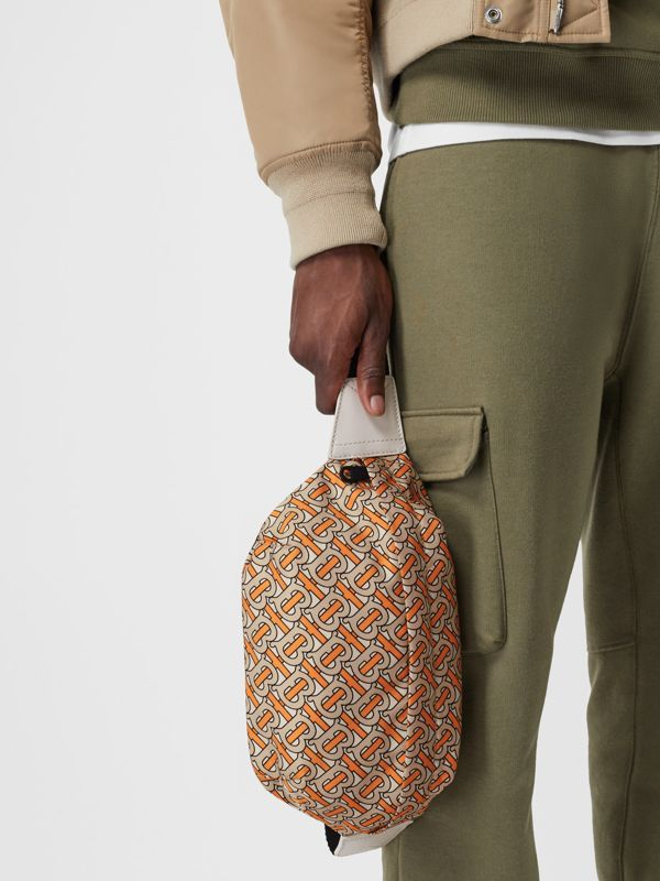 Medium Monogram Print Bum Bag in Bright Orange | Burberry - cell image 3