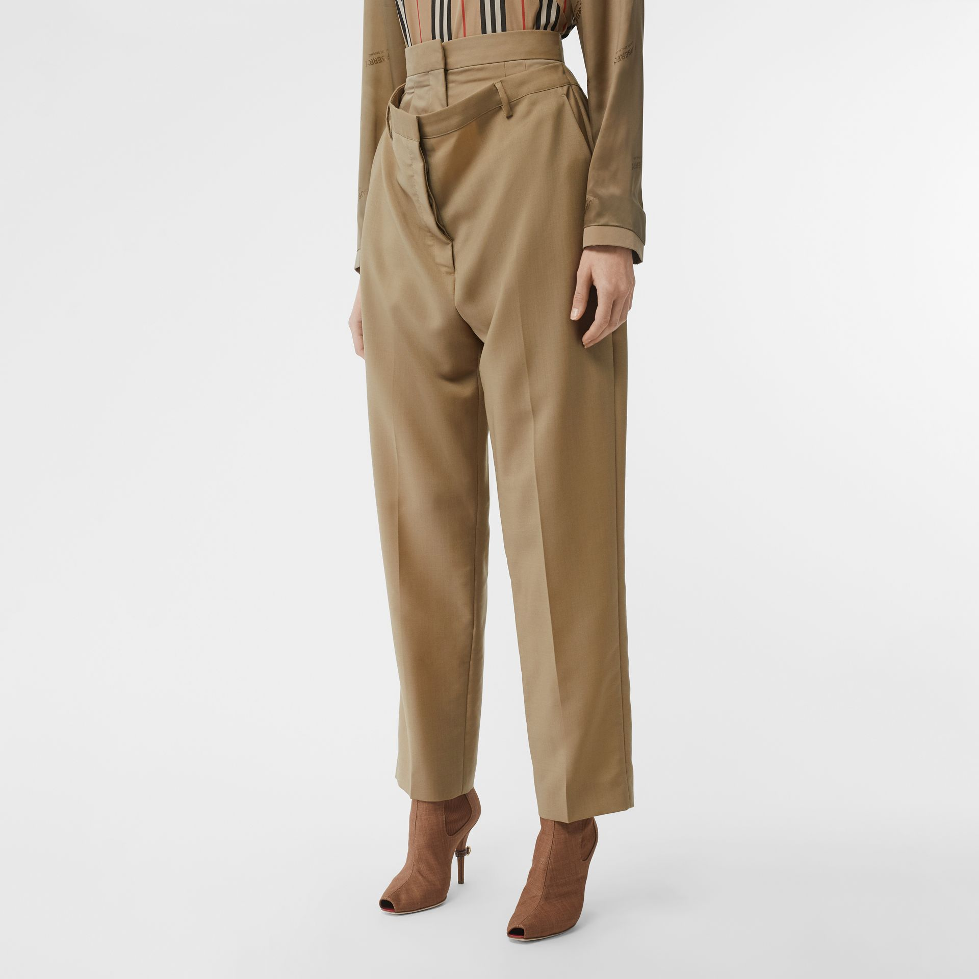 Double-waist Mohair Wool Trousers in Honey - Women | Burberry United States - gallery image 4